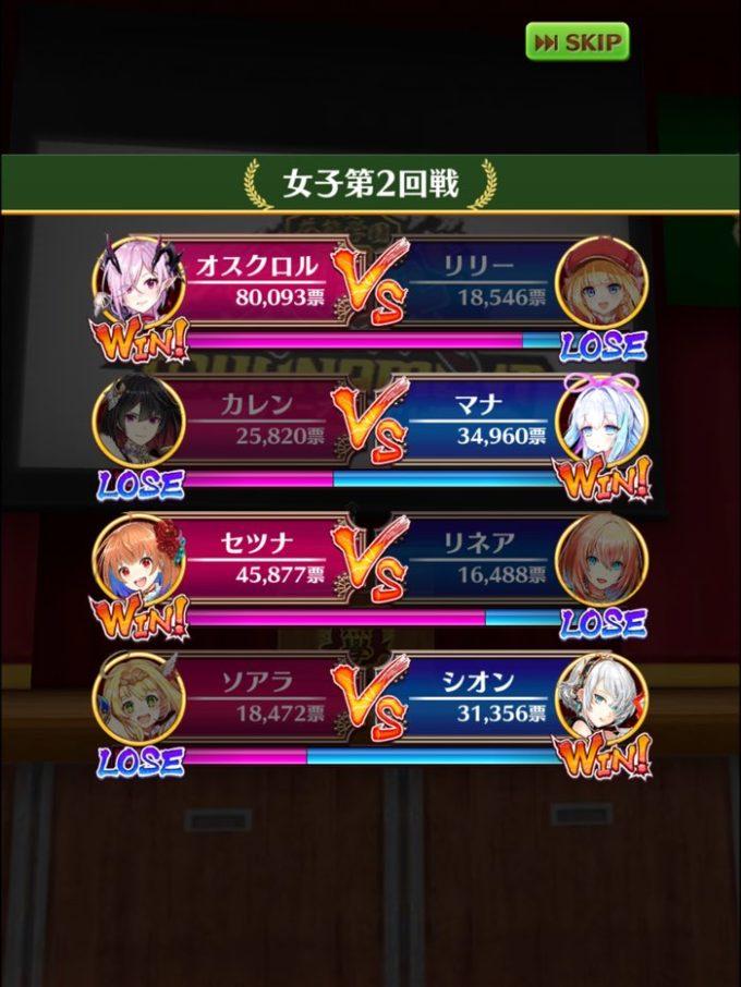 二回戦 結果 女1