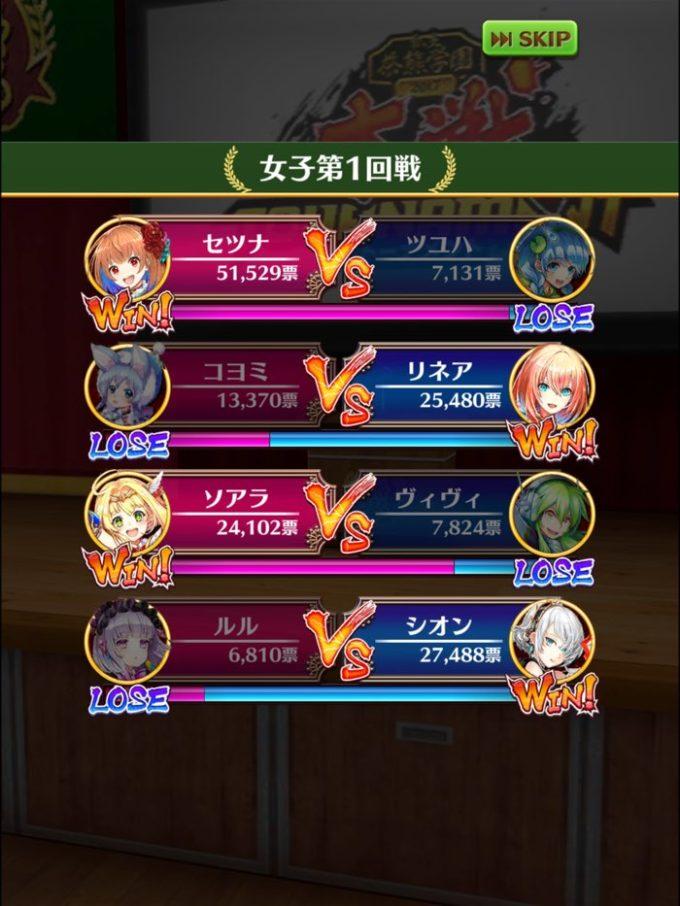 1回戦結果 女2