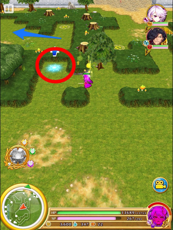 エリア2 右ルートを進み 敵を全て倒し 画面中央付近に 出現するジャンプギミックで 移動。道なりに進み フットスイッチを踏む