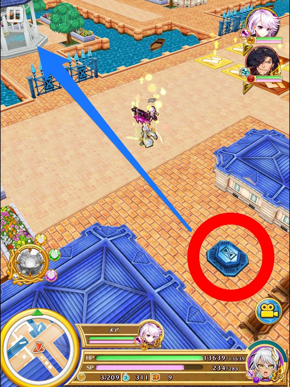 エリア2左下の 青いフットスイッチを踏み。青い時限扉を通って左へ移動